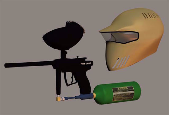 Picture of Paintball Gun and Helmet Models Poser Format