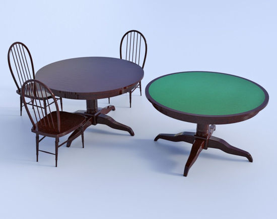 Picture of Saloon Tables and Chair Models Poser Format