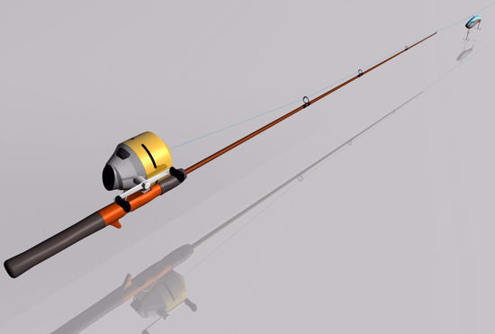 Picture of Fishing Rod and Real Model FBX Format