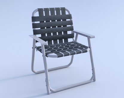 Picture of Vintage Webbed Lawn Chair Model Poser Format