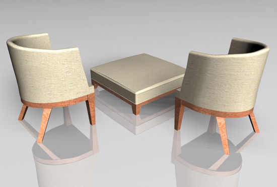 Picture of Modern Style Ottoman and Chair Furniture Models FBX Format