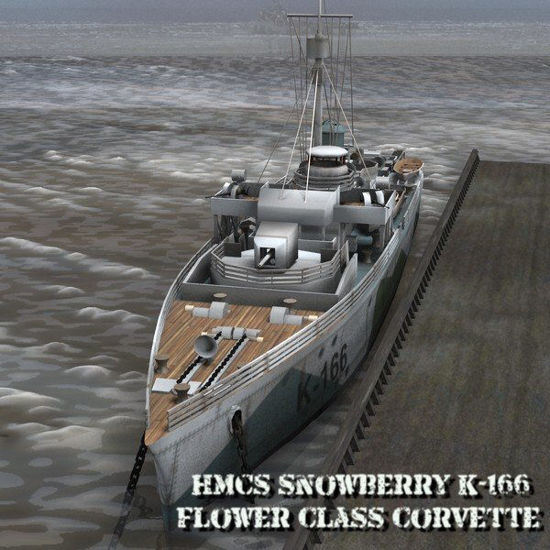 Picture of HMCS Snowberry Corvette - warship figure for Poser