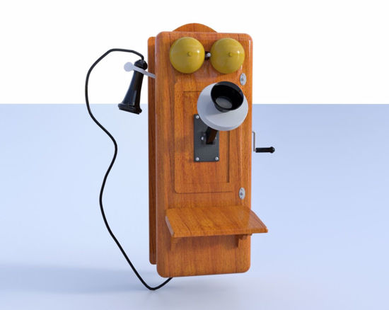 Picture of Old Crank Telephone Model Poser Format