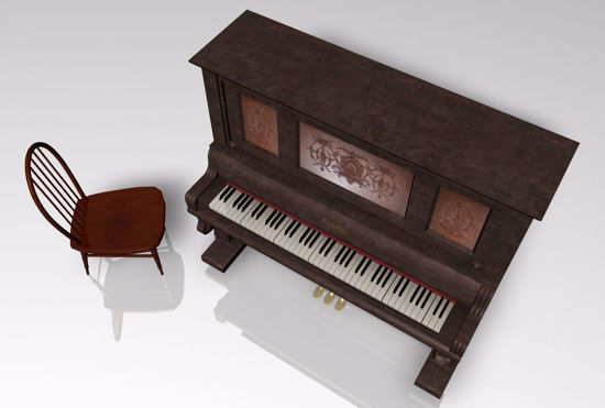 Picture of Upright Piano Furniture Model FBX Format