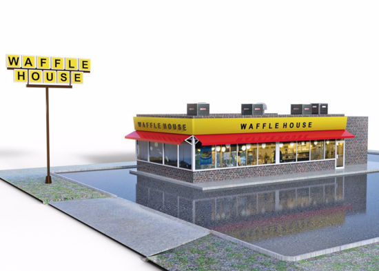 Picture of Waffle Restaurant and Parking Lot Environment Poser Format