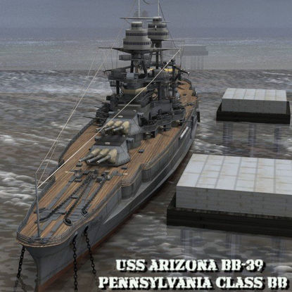 Picture of U.S.S Arizona Battleship- warship figure for Poser