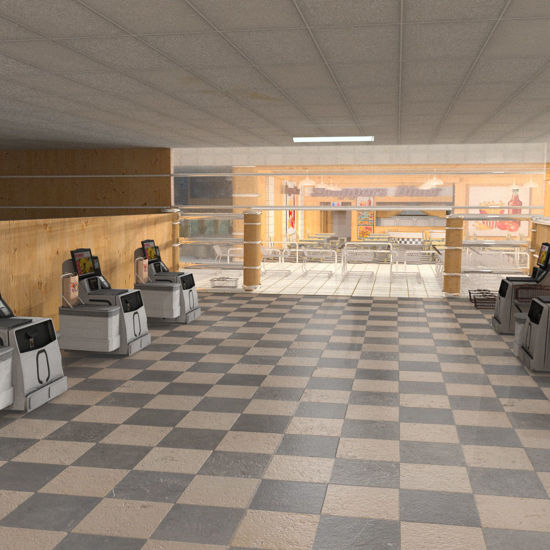 SuperStore Interior, Checkout & Bagging Area rendered in SuperFly