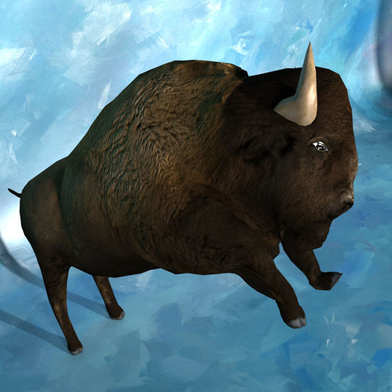 3D Bison figure (Buffalo) jumping for Poser by PoserWorld rendered in SuperFly