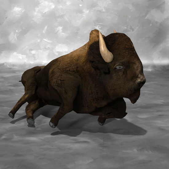 A bedding 3D Bison figure (Buffalo) for Poser by PoserWorld rendered in FireFly