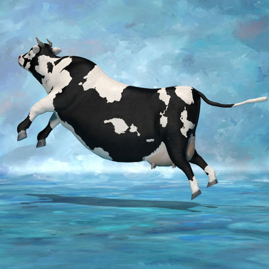 Cattle jumping  pose rendered in Poser Superfly