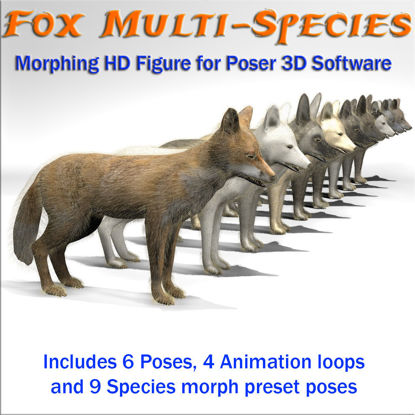 Fox multi-species morphing animated 3d figure for Poser and DS 3d Studio