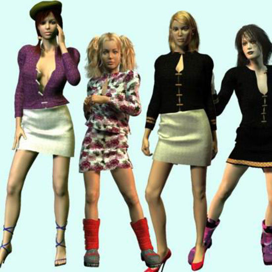 Picture of Lindsay Outfit for Multiple Figures  - Poser Laura, DAZ 3D Victoria 1-3, Stephanie 3, and Aiko 3