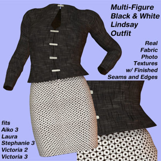Picture of Black and White Lindsay Outfit Textures - Material Add-On for Lindsay Outfit for Poser