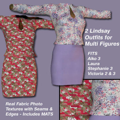Picture of Hawaiian and Lavender Flower Lindsay Outfit Textures - Material Add-On for Lindsay Outfits for Poser