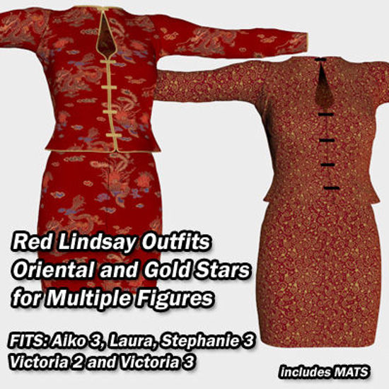 Picture of Red Lindsay Outfit Textures - Material Add-On for Lindsay Outfit for Poser