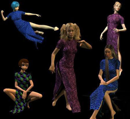 Picture of Cheongsam Version 2 for Victoria 3 - Poser DAZ 3D ( V3 )