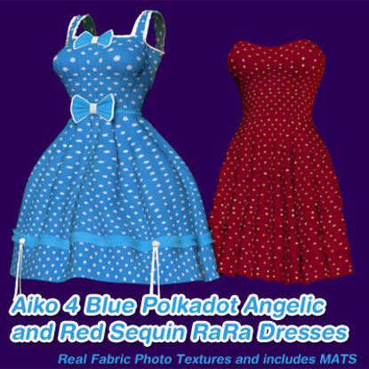 Picture of Blue Polkadot Angelic Dress and a Red Sequin RaRa Dress for Aiko 4