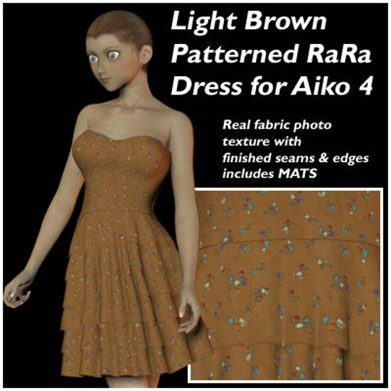 Picture of Light Brown Patterned RaRa Dress for Aiko 4