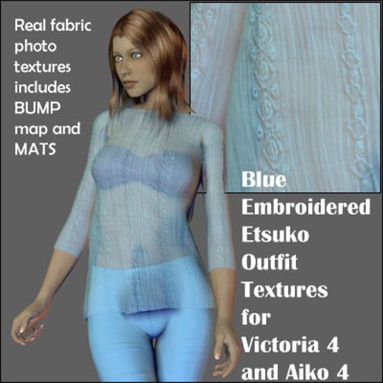 Picture of Blue Embroidered Etsuko Outfit Textures for Victoria 4 and Aiko 4