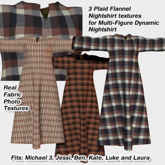 Picture of Plaid Flannel Textures for Nightshirt for Poser - Material Add-On Texture Pack