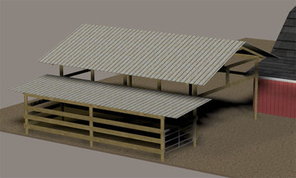 Picture of Open Farm Shed Model with Gate Movements