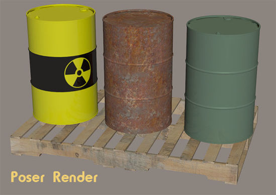 Picture of 55 Gallon Drums and Wooden Pallet Models