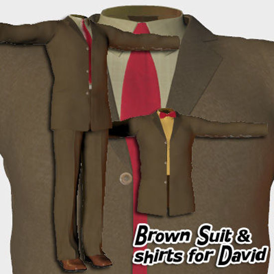 Picture of Brown Wool Suit and Dress Shirts for David