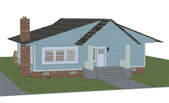 Picture of Complete 1940's Bungalow House Model with Movements - PWBungalowDISPmaps