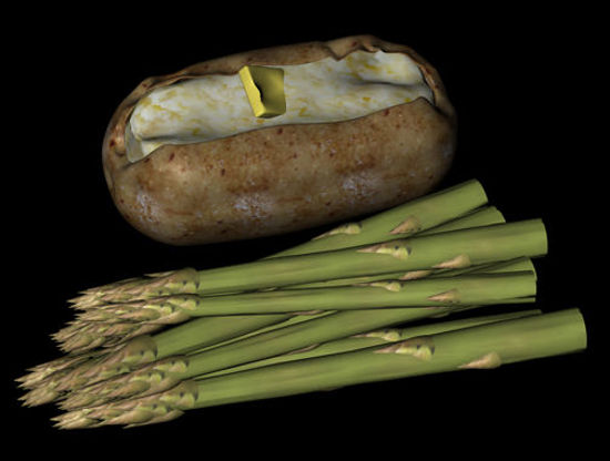 Picture of Baked Potato and Asparagus Food Props