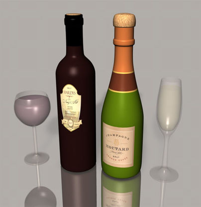 Picture of Champagne and Wine Bottles with Glasses Model Set - Poser and DAZ Studio Format