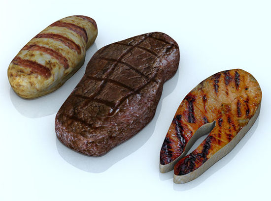Picture of Grilled Meat Entree Food Models Set 1 - Poser and DAZ Studio Format