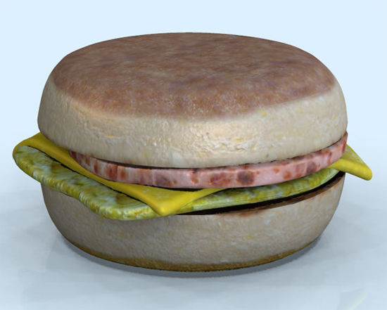 Picture of English Muffin Breakfast Sandwich and Extra Food Models
