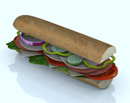 Picture of Submarine Sandwich and Individual Food Item Models