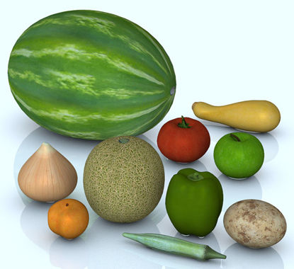 Picture of 10 Fresh Fruit and Vegetable Models Set 1 - FreshProduceSet1