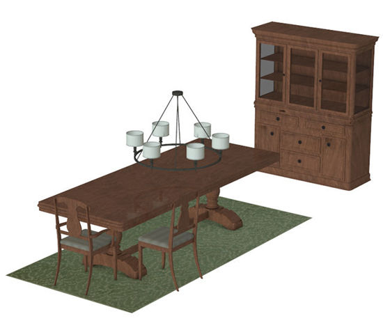 Picture of Formal Dining Furniture Model Set - Poser and DAZ Studio Format