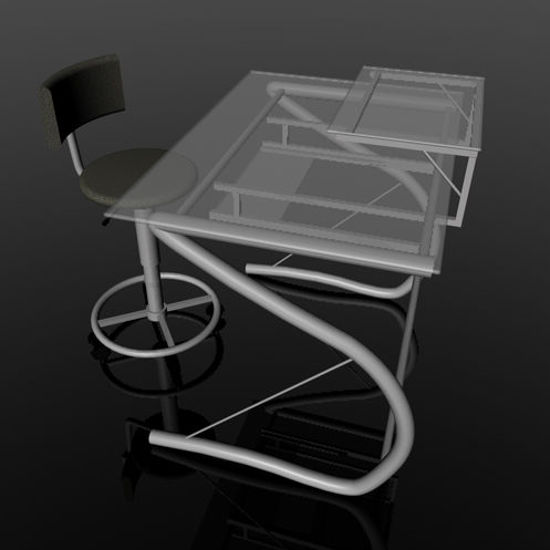Picture of Glass Computer Desk and Secretary Chair Props