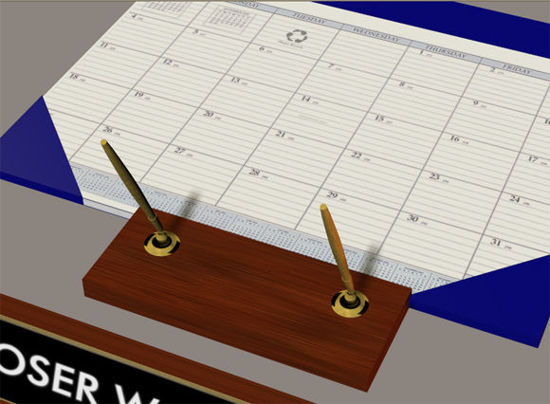 Picture of Desk Calendar, Pen Set and Name Plate Office Props
