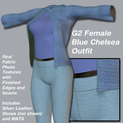 Picture of Blue Chelsea Outfit for the Poser G2 Female