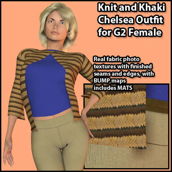 Picture of Knit and Khaki Chelsea Outfit for the Poser G2 Sydney Female