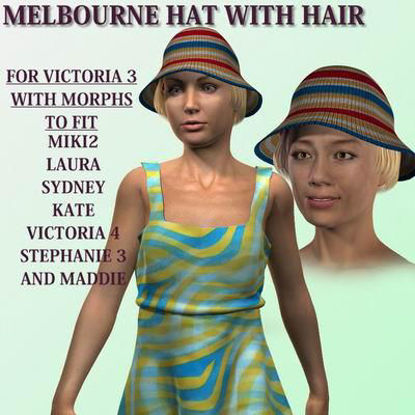 Picture of Melbourne hat with hair for Multi figures