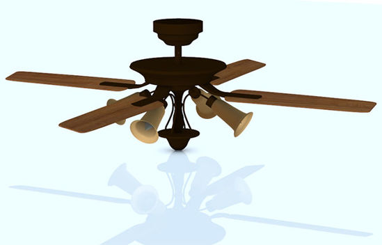 Picture of Ornate Ceiling Fan Model - Poser and DAZ Studio Format