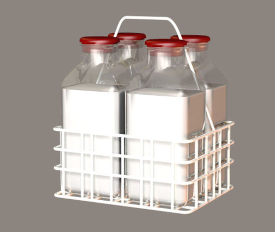 Picture of Vintage Glass Milk Bottles and Carrier Food Props