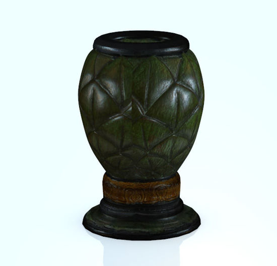 Picture of Photo-Realistic Green Leaf Ceramic Vase Model