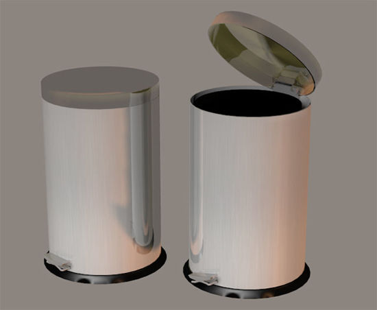 Picture of Stainless Steel Kitchen Trash Can Model