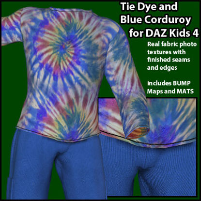 Picture of Tie Dye and Blue Corduroy Outfit for DAZ Kids 4