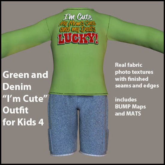 "Picture of Green and Denim ""I'm Cute"" Outfit for DAZ Kids 4"