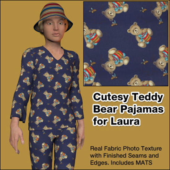Picture of Cutesy Teddy Bear Pajama Texture for Laura - LauraPJs-C