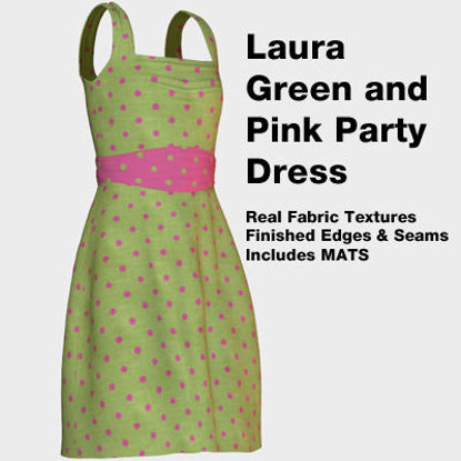 Picture of Green and Pink Polkadot Party Dress for Laura