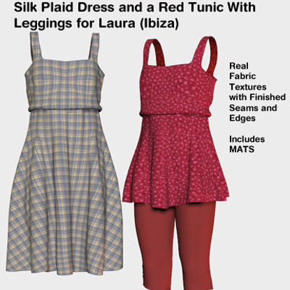 Picture of Plaid Silk Dress and Red Tunic Ibiza for Laura