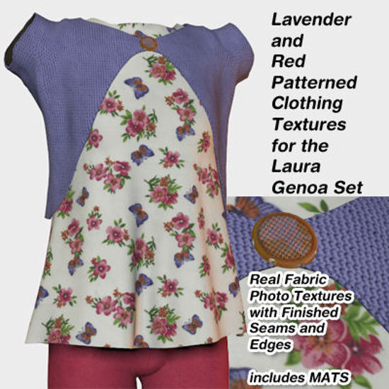 Picture of Red and Lavender Patterned Clothing Textures for Laura Genoa